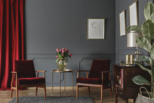 Two Burgundy Armchairs Placed ...
