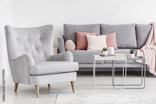 Awe Inspiring Comfy Armchair And Grey Sofa With Pink Pillows And Coffee Machost Co Dining Chair Design Ideas Machostcouk