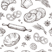 Bread Seamless Pattern. Vintage Sketch Bakery Repeating Vector Background