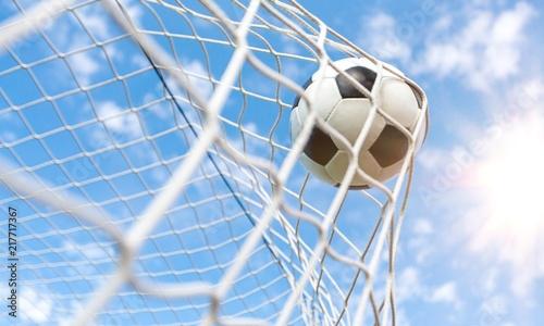 Fototapety, obrazy: Soccer ball in goal, sport concept