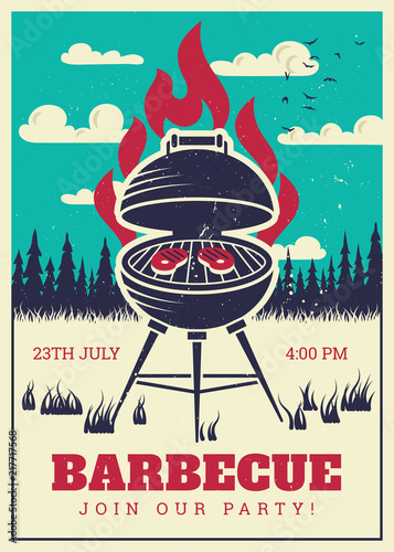 Vintage Bbq Grill Party Poster Delicious Grilled Burgers