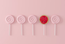 Watermelon Candy On Pastel Pink Background. Different Concept. Minimal Fruit