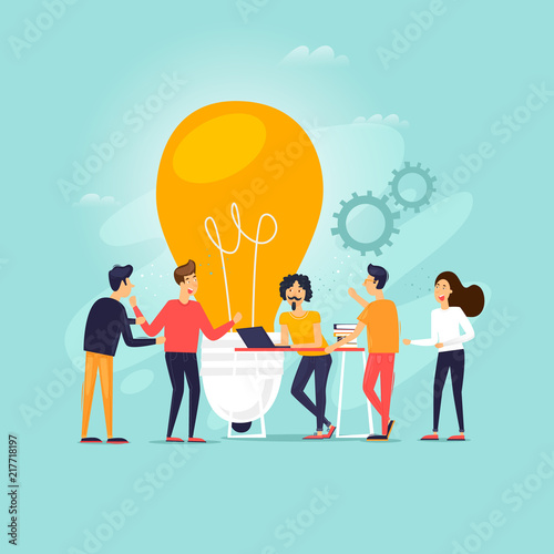 Fototapety, obrazy: Teamwork, brainstorming, a group of people working together, developing ideas. Flat design vector illustration.