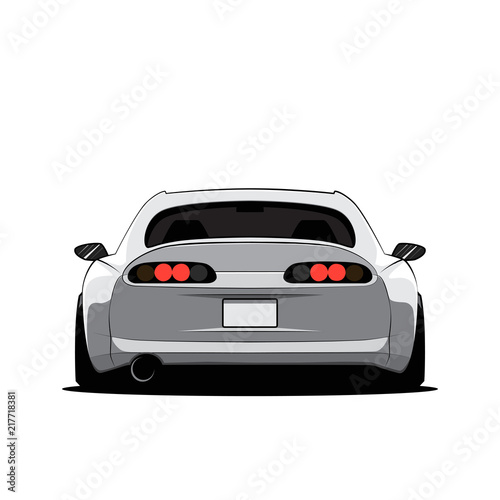 Cartoon japan tuned car isolated. Back view. Vector illustration Poster Mural XXL