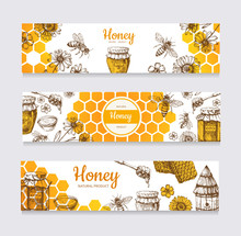 Honey Banners. Vintage Hand Dr...
