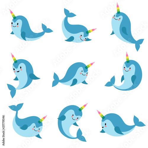 Photo  Cute cartoon anime unicorn narwhal