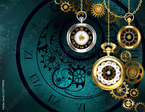 Fotografia Clock with gears on green background