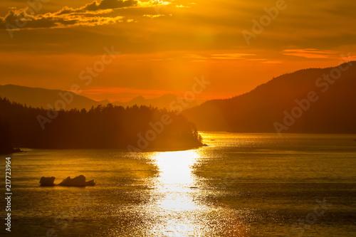 Alaskan sunset on sea