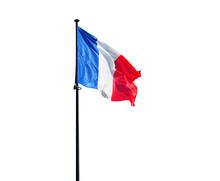 Flag Of France On Flagpole Isolated On White Background