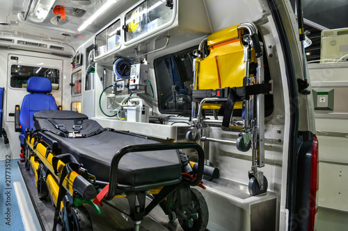 Photo Emergency equipment and devices, Ambulance interior details.