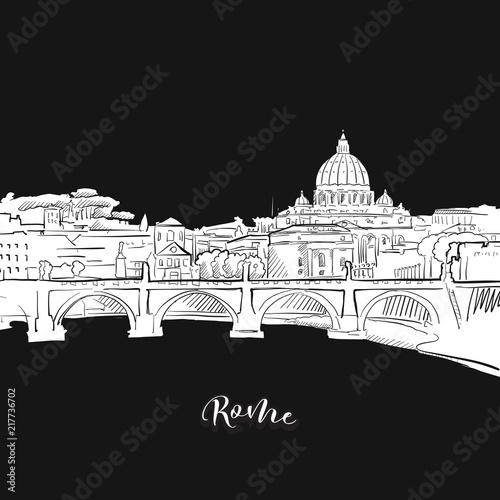 Rome skyline, outline Canvas Print