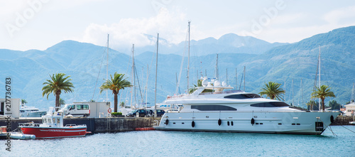 yachts in city dock. summer time. vacation at sea