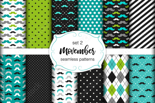 Photo  Cute set of Movember seamless patterns with mustache