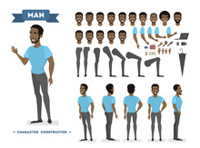 African American Man Character Set For Animation