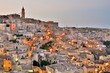 Panoramic view of ancient town of Matera (Sassi di Matera) by evening. Basilicata, Italy.