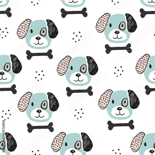 fototapeta na drzwi i meble Dog and bone hand drawn childish illustration. Nursery pattern for textile or fabric