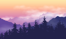 Mountain Landscape With Forest, Clouds And Fog Between Hills, Under Purple Yellow Sky With Dawn