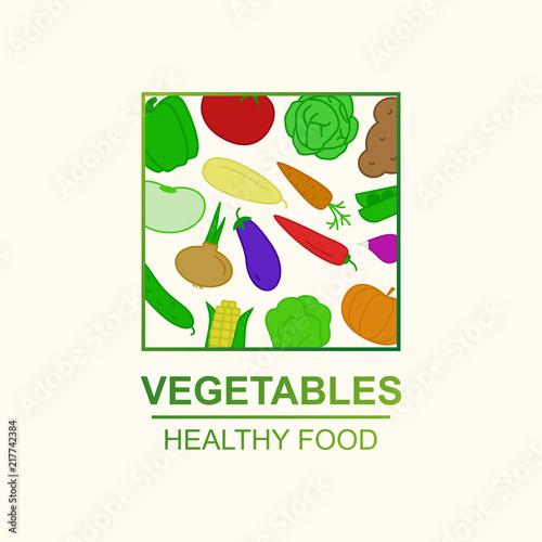 vector vegetables concept for farm fresh sale, healthy food