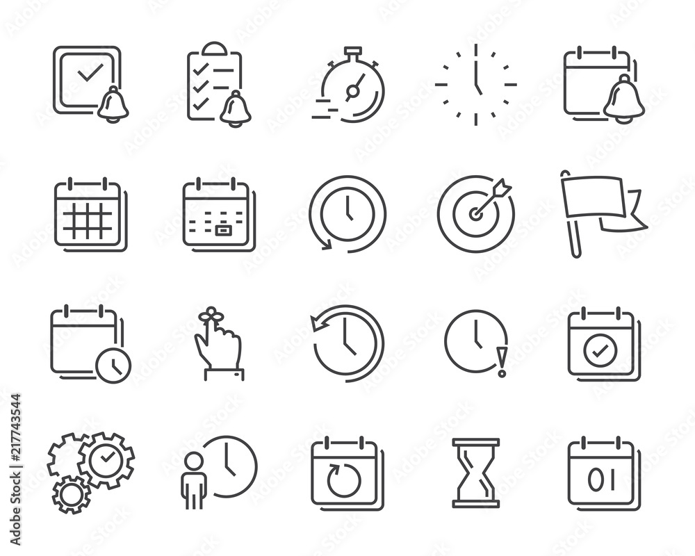 Fototapeta set of time relation vector line icon, such as calendar, reminder, day, year, event