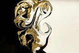 Fototapeta Kamienie - Marble abstract acrylic background. Marbling artwork texture. Agate ripple pattern. Gold powder.