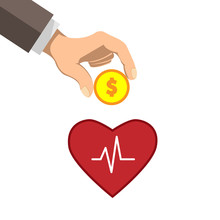 The Hand Puts Money In The Heart. Concept Of Health Promotion