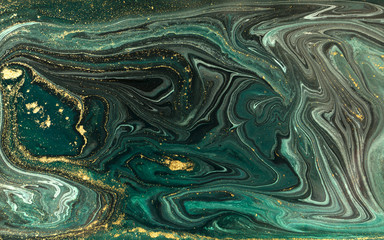Panel Szklany Nowoczesny Green marble abstract acrylic background. Marbling artwork texture. Agate ripple pattern. Gold powder.