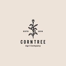 Corn Tree Hipster Retro Vintage Badge Vector Icon Illustration