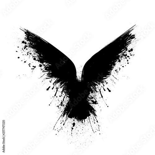 Fotografie, Obraz Black grunge raven