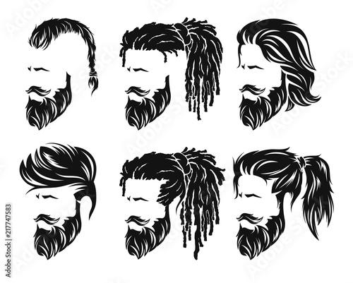Valokuva mens hairstyles and hirecut with beard mustache