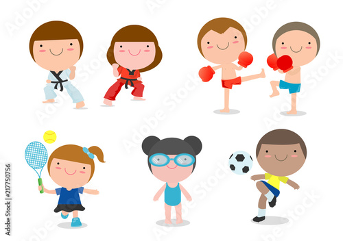 Kids And Sport Kids Playing Various Sports On White Background Cartoon Kid Sports Boxing Football Soccer Tennis Taekwondo Karate Swimming Vector Illustration Buy This Stock Vector And Explore Similar Vectors At
