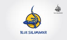 Blue Salamander Vector Logo Il...