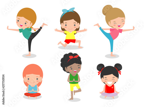 kids Practicing Yoga, happy cartoon children Practicing Yoga