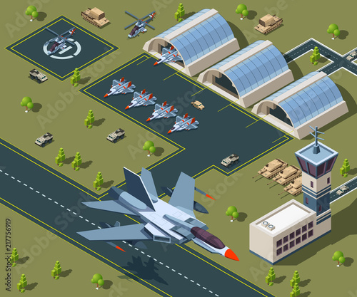 Photo Military airport isometric. Low poly 3d of usa aircraft