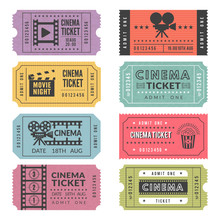 Template Of Cinema Tickets. Vector Designs Of Various Cinema Tickets With Illustrations Of Video Cameras And Other Tools