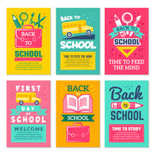 Cards With Schools Symbols. Back To School Cards Template Isolate