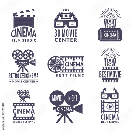 Cinema labels set Canvas Print