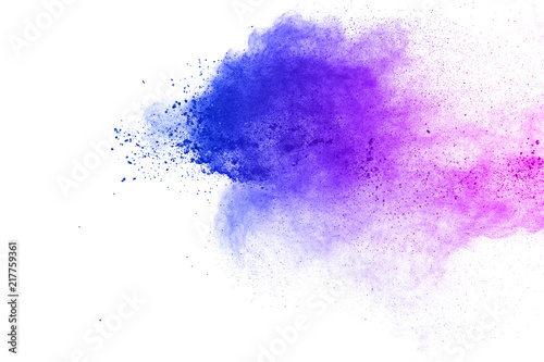 Foto auf AluDibond Formen Abstract blue-purple dust explosion on white background. Freeze motion of blue-pink powder splashing.