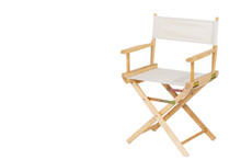 Clipping Path, Single Wooden And White Seat Director Chair Isolated On White Background.