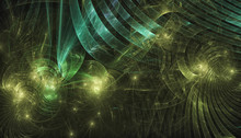 Beautiful Green Background Of Glowing Particles And Lines With Depth Of Field And Bokeh. 3d Illustration, 3d Render