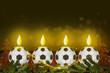 canvas print picture - Weihnachtsdekoration mit Fussball-Kerzen