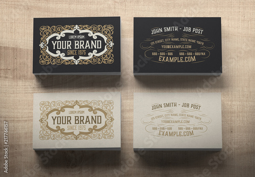 Vintage Business Card Layout With Ornaments Buy This Stock Template