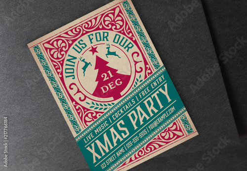 Christmas Party Flyer.Vintage Christmas Party Flyer Layout Buy This Stock