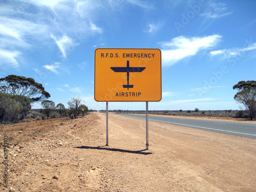 Royal Flying Doctor roadside airstrip sign Canvas Print
