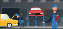 Car Repair Maintenance Autoservice Center Garage Isometric View Interior With Mechanics Testing Lifted Vehicles Vector Illustration.