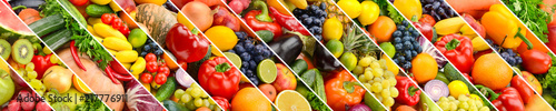 Fotografía Collage of healthy fruits and vegetables divided oblique lines
