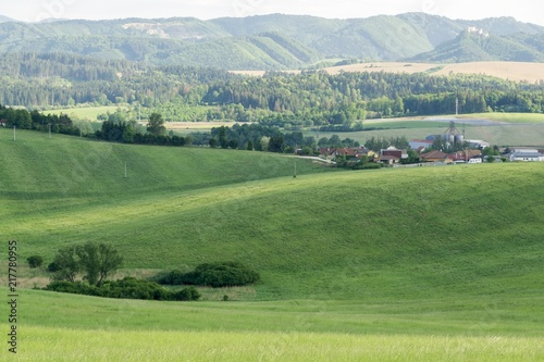Foto op Canvas Pistache Sunrise and sunset over the hills and town. Slovakia