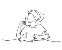 Continuous One Line Drawing. Schoolgirl Sitting And Writing With Pencil On Copybook. Vector Illustration