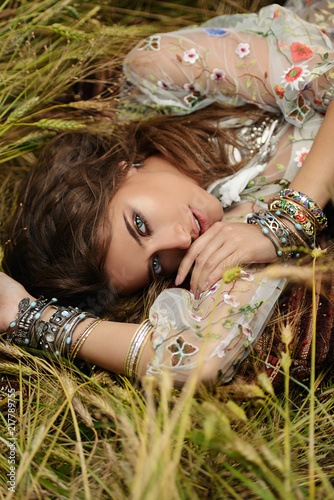 Poster Gypsy beautiful hippie girl