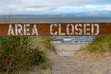 Beach Closure Sign Along The C...