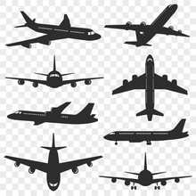 Airplanes Silhouettes Set. Pla...